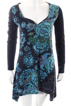 Desigual Longshirt dunkelblau-türkis florales Muster Casual-Look