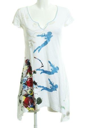 Desigual Longshirt weiß-dunkelrot Blumenmuster Casual-Look