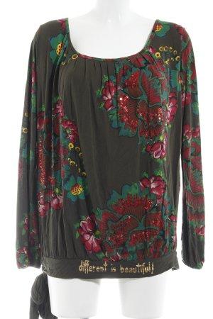 Desigual Longsleeve dunkelrot-dunkelgrün Blumenmuster Casual-Look