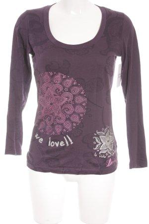 Desigual Longsleeve dunkelviolett-violett florales Muster Casual-Look
