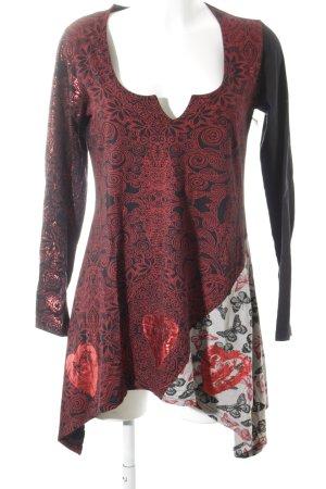 Desigual Longsleeve schwarz-rot florales Muster Casual-Look
