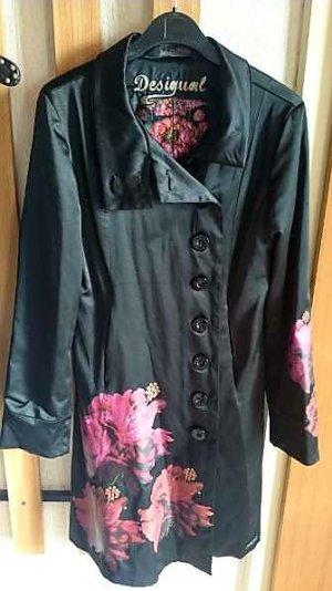 Desigual Abrigo corto negro-rojo neón tejido mezclado