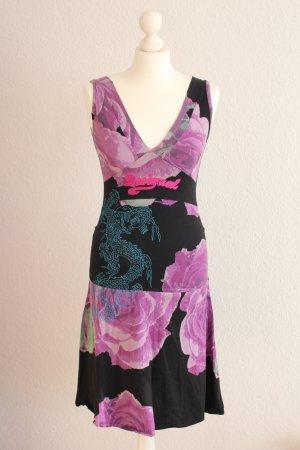 Desigual Midi-Kleid Sommerkleid Schwarz Lila Kleidchen S 36-38