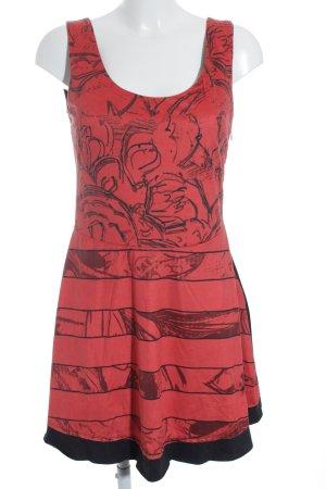 Desigual Minikleid schwarz-rot abstraktes Muster Casual-Look