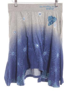 Desigual Minirock hellgrau-blau florales Muster Romantik-Look