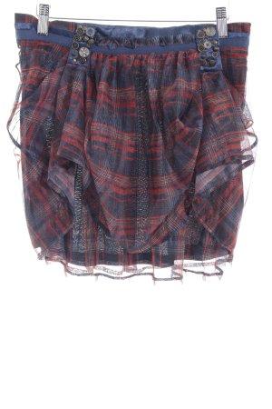 Desigual Mini-jupe rouge carmin-bleu pétrole motif à carreaux style punk