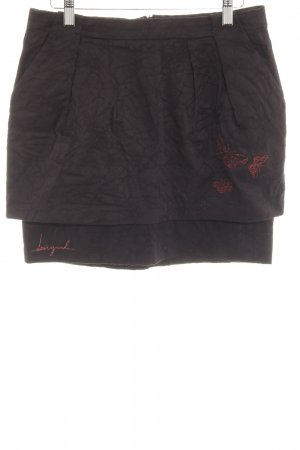 Desigual Miniskirt black embroidered lettering simple style