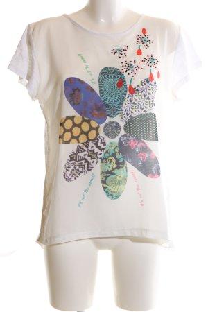 Desigual Oversized Shirt weiß-wollweiß abstraktes Muster Casual-Look