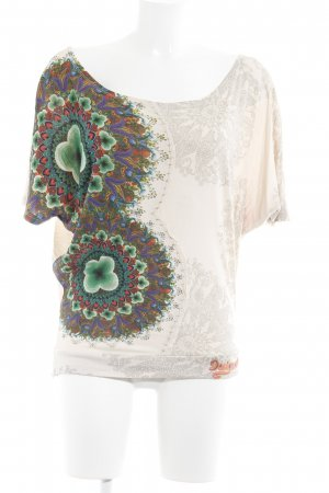 Desigual Oversized Shirt cream-green abstract pattern casual look