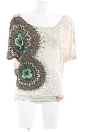 Desigual Oversized Shirt creme-grün abstraktes Muster Casual-Look