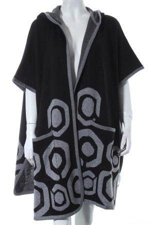 Desigual Poncho schwarz-grau abstraktes Muster Casual-Look