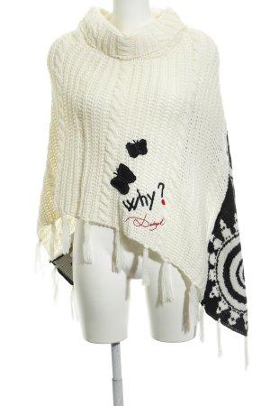 Desigual Poncho wit-zwart abstract patroon hippie stijl