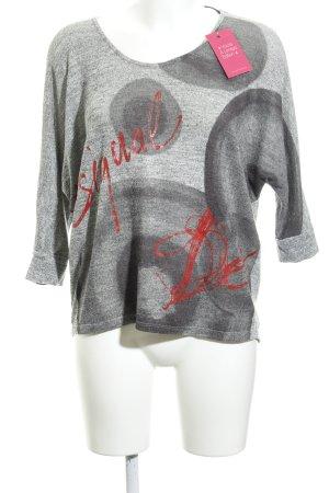 Desigual Camicia fantasia grigio-rosso caratteri stampati stile casual