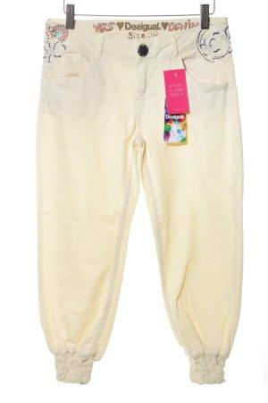 Desigual Pantalon large jaune primevère style décontracté