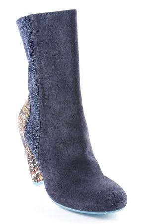 Desigual Reißverschluss-Stiefeletten dunkelblau florales Muster Glitzer-Optik