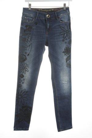 Desigual Röhrenjeans dunkelblau Blumenmuster Hippie-Look