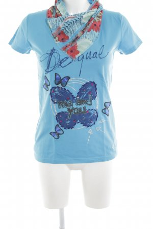 Desigual Colshirt turkoois-neon blauw abstract patroon casual uitstraling