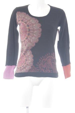 Desigual Rundhalspullover schwarz-rosa Paisleymuster Casual-Look