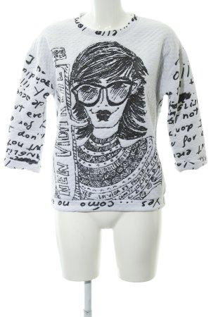 Desigual Kraagloze sweater wit-zwart prints met een thema casual uitstraling