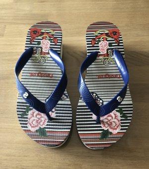 Desigual Flip-Flop Sandals blue-white
