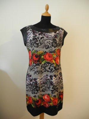 Desigual schwarz weiß rot grün Rose Blumen Muster Stretch Reißverschluss Elasthan LEderimitat stickerei Marke cool Hingucker feminin