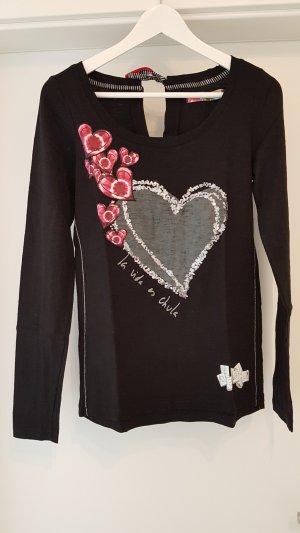 Desigual-Shirt Größe S, Schwarz mit Glitzer und Pink