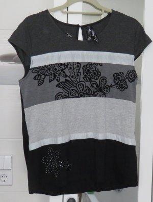 Desigual Shirt schwarz/weiss, Materialmix, Gr. XL
