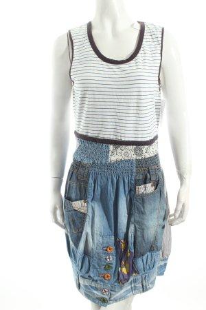 Desigual Shirtkleid weiß-blau Streifenmuster Casual-Look