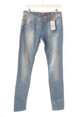 Desigual Skinny Jeans hellblau Used-Optik