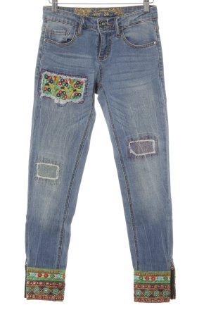 Desigual Skinny Jeans himmelblau Streifenmuster Casual-Look