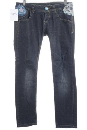Desigual Slim Jeans blau Blumenmuster extravaganter Stil
