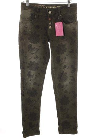 Desigual Slim Jeans khaki florales Muster Casual-Look