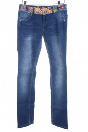Desigual Slim Jeans stahlblau Blumenmuster Washed-Optik
