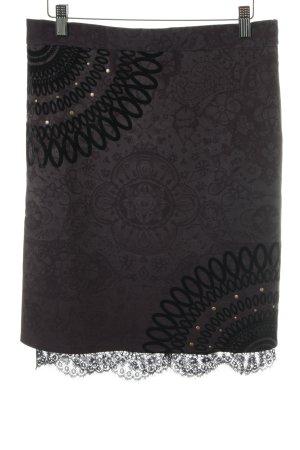 Desigual Jupe en dentelle noir-gris foncé motif abstrait style décontracté