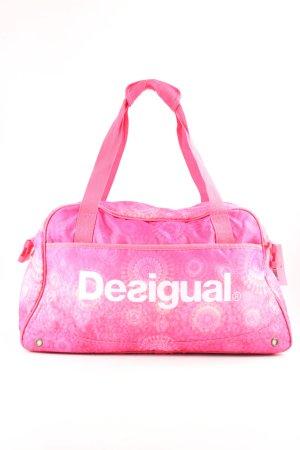 Desigual Sporttasche pink-weiß Allover-Druck sportlicher Stil