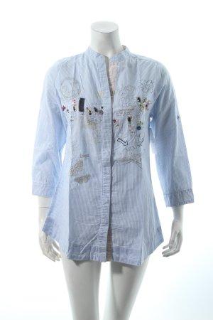 Desigual Stehkragenbluse weiß-blau Streifenmuster Casual-Look