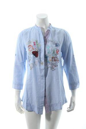 Desigual Blusa de cuello alto blanco-azul estampado a rayas look casual