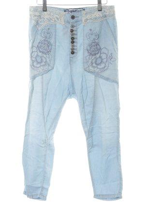 Desigual Stoffhose blassblau-weiß florales Muster Boho-Look