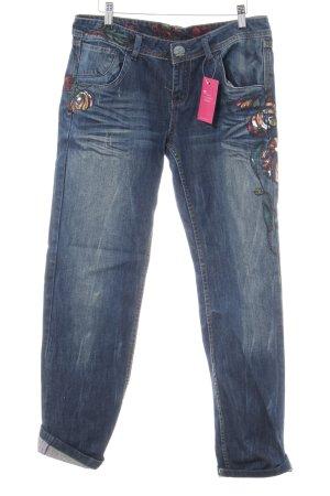 Desigual Straight-Leg Jeans dunkelblau abstrakter Druck Boho-Look