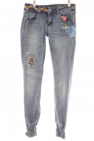 Desigual Stretch Jeans Blumenmuster Casual-Look