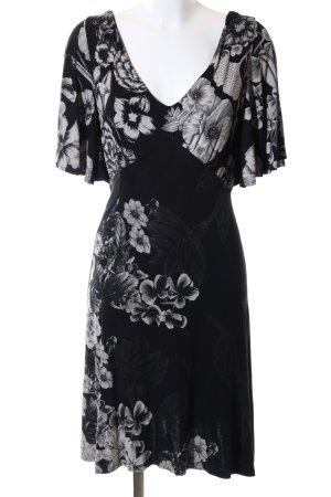 Desigual Stretch jurk zwart-lichtgrijs bloemenprint casual uitstraling