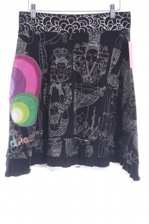 Desigual Stretch rok abstract patroon Logo applicatie