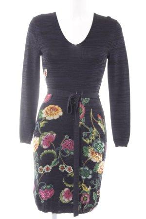 Desigual Knitted Dress dark blue-black flower pattern hippie style