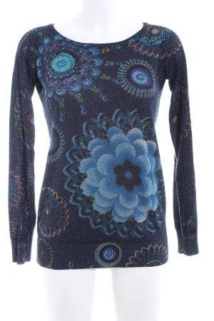 Desigual Strickpullover blau Blumenmuster Casual-Look