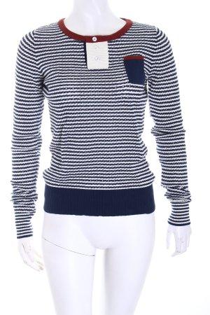 Desigual Strickpullover weiß-blau Streifenmuster Casual-Look