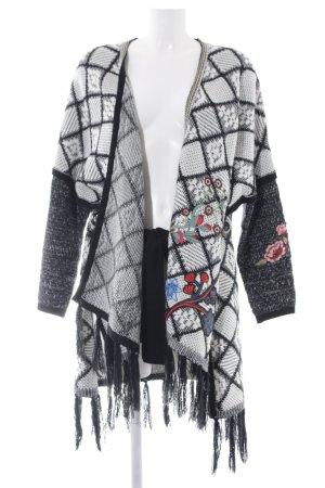 Desigual Cache-cœur en tricot blanc-noir style Boho