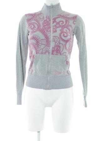Desigual Sweatjacke hellgrau-pink Blumenmuster Casual-Look