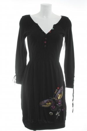 Desigual Vestido de tela de sudadera negro-rojo letras bordadas estampado animal