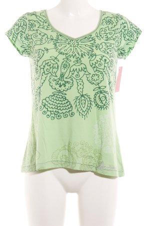 Desigual T-Shirt blassgrün-waldgrün florales Muster Casual-Look