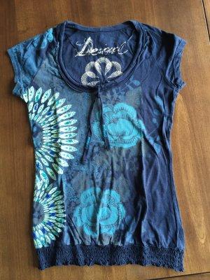 Desigual T-Shirt blau Motivdruck Glitzersteine
